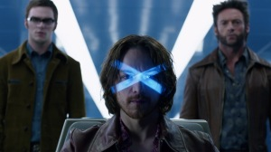 1970s era Professor Xavier (James McAvoy) re-enters cerebro with Beast (Nicholas Hoult) and Wolverine (Hugh Jackman) in X-Men: Days of Future Past