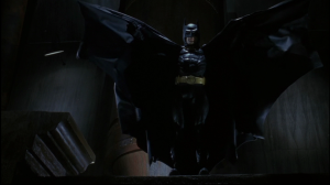 The Nosferatu-esque Batman hunts his prey in Tim Burton's Batman