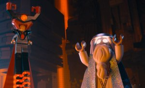 Wonky wizard Vitruvius  (Morgan Freeman) faces evil Lord Business (Will Ferrell) in The Lego Movie