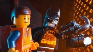 "Batman (Will Arnett) prepares to ""wing it"" with Emmet (Chris Pratt) in The Lego Movie"