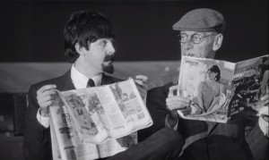 Paul hides out with 'Grandfather' (Wilfrid Brambell) in A Hard Day's Night