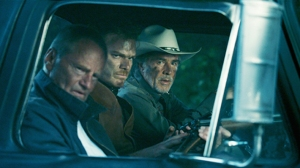 Ben Russell (Sam Shepard), Richard Dane (Michael C. Hall) and Jim Bob Luke (Don Johnson) go hunting in Cold In July