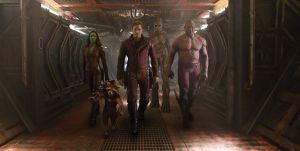The A Team - Gamora (Zoe Saldana), Rocket (Bradley Cooper), Peter Quill (Chris Pratt), Groot (Vin Diesel) and Drax the Destroyer (Dave Bautista) in Guardians Of The Galaxy