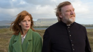 Father James (Brendan Gleeson) receives a visit from his daughter Fiona (Kelly Reilly) in Calvary