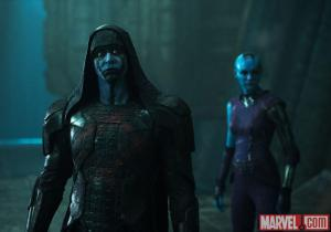 The evil Ronan the Accuser (Lee Pace) and his loyal lieutenant Nebula (Karen Gillan) in Guardians Of The Galaxy