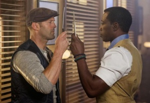 Lee Christmas (Jason Statham) and Doctor Death (Wesley Snipes) get knives out in The Expendables 3