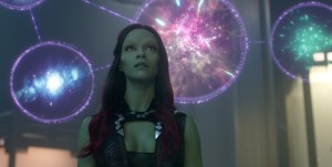 Gamora (Zoe Saldana) learns more about the mysterious orb in Guardians Of The Galaxy