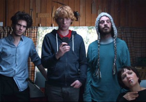 The various members of Soronprfbs, including François Civil's Baroque, keyboardist Jon (Domhnall Gleeson), manager Don (Scoot McNairy) and the erratic Clara (Maggie Gyllenhaal) in Frank