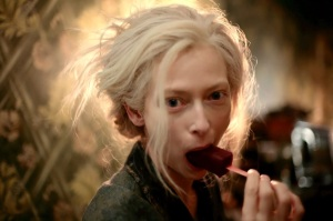 Eve (Tilda Swinton) enjoys a blood lolly in Only Lovers Left Alive