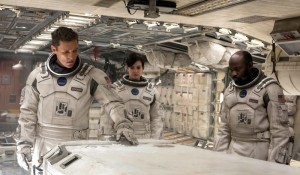 The Endurance crew - Cooper (Matthew McConaughey), Amelia (Anne Hathaway) and Romilly (David Gyasi)  in Interstellar