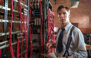 Professor Alan Turing (Benedict Cumberbatch) with 'Christopher' in The Imitation Game