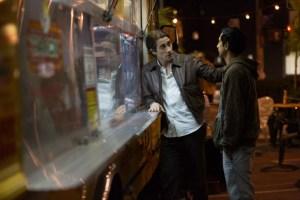 Lou Bloom (Jake Gyllenhaal) shows 'intern' Rick (Riz Ahmed) the ropes in Nightcrawler