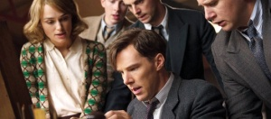 Eureka! Alan Turing (Benedict Cumberbatch) is flanked by Joan Clarke (Keira Knightley), Peter Hilton (Matthew Beard), Hugh Alexander (Matthew Goode) and John Cairncross (Allen Leech) in The Imitation Game