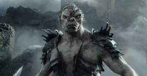 Azog the Defiler (Manu Bennett) looks his usual grumpy self in The Hobbit: The Battle Of The Five Armies
