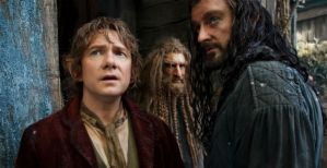 Bilbo Baggins (Martin Freeman) and Thorin Oakenshield (Richard Armitage) look worried in The Hobbit: The Battle Of The Five Armies