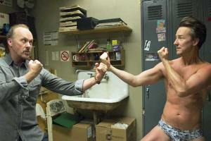 Riggan Thomson (Michael Keaton) goes toe-to-toe with method actor Mike Shiner (Edward Norton) in Birdman