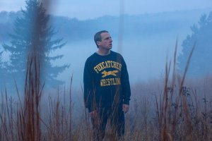John du Pont (Steve Carell) lost in the mist in Foxcatcher