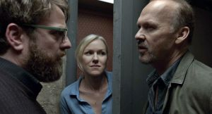 Riggan Thomson (Michael Keaton) prepares for opening night with fellow actor Lesley (Naomi Watts) and lawyer Jake (Zach Galifianakis) in Birdman