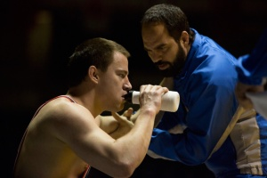Mark Schultz (Channing Tatum) brings his A game with brother Dave (Mark Ruffalo) in Foxcatcher