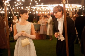 An early moment of happiness for Jane (Felicity Jones) and Stephen Hawking (Eddie Redmayne) in The Theory Of Everything