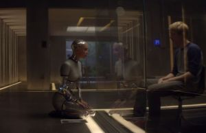 Ava (Alicia Vikander) and Caleb (Domhnall Gleeson) bond in Ex Machina