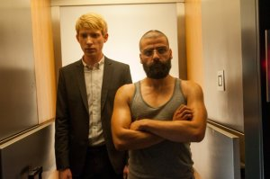 Guns out: Nathan (Oscar Isaac) shows seven-stone weakling Caleb (Domhnall Gleeson) how to do it in Ex Machina
