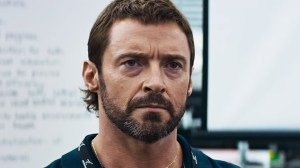 Vincent Moore (Hugh Jackman), a surefire Best Hair 2016 Oscar winner, in Chappie