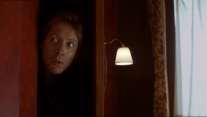 Eccentric attorney E. Edward Grey (James Spader) in skulking mode in Secretary