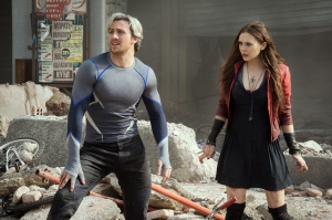 He's fast, she's weird: Quicksilver (Aaron Taylor-Johnson) and sister Scarlett Witch (Elizabeth Olsen) in Avengers: Age Of Ultron