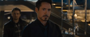 Tony Stark/Iron Man (Robert Downey Jr) and Hawkeye (Jeremy Renner) wonder what to do next in Avengers: Age Of Ultron