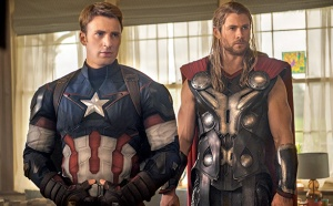 Thor-some: Captain America (Chris Evans) and Thor (Chris Hemsworth) in Avengers: Age Of Ultron