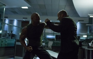 Hobbs (The Rock) and Deckard Shaw (Jason Statham) go toe-to-toe in Fast And Furious 7