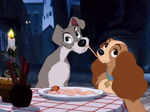A classic scene from Dsiney's Lady And The Tramp