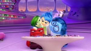 You're in my head! oy (Amy Poehler), Sadness (Phyllis Smith), Anger (Lewis Black), Mindy Kaling (Disgust) and Fear (Bill Hader) in Inside Out