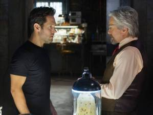 The Ant-Man mantle is passed from Hank Pym (Michael Douglas) to Scott Lang (Paul Rudd) in Ant-Man