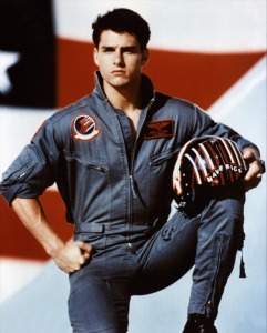Maverick (Tom Cruise) in full-on flag waving fascist pose in Top Gun