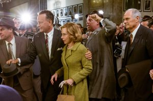 The public take against lawyer James B. Donovan (Tom Hanks) and his wife Mary (Amy Ryan) in Bridge Of Spies