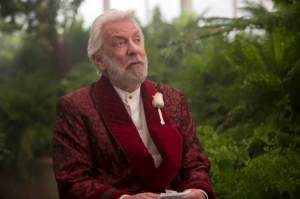 Dastardly President Snow (Donald Sutherland) in The Hunger Games: Mockingjay - Part 2