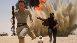 Rey (Daisy Ridley), Finn (John Boyega) and BB-8 in Star Wars Episode VII - The Force Awakens