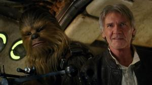 Han Solo (Harrison Ford) and Chewbacca (Peter Mayhem) back on the Falcon in Star Wars Episode VII - The Force Awakens