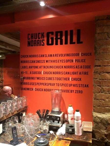 We also found the Chuck Norris Grill with these wise words