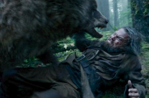 Hugh Glass (Leonardo DiCaprio) goes mano v mano against a grizzly in The Revenant