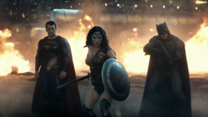 The Holy Trinity of Superman (Henry Cavill), Wonder Woman (Gal Gadot) and Batman (Ben Affleck) in Batman vs Superman: Dawn Of Justice