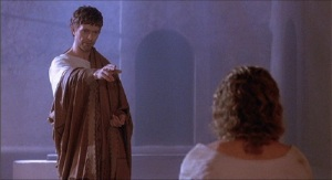 The late David Bowie plays Pilate opposite Willem Dafoe's Jesus in The Last Temptation Of Christ