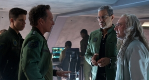 Why are we here again? General Joshua Adams (William Fichtner), Earth Space Defense head honcho David Levinson (Jeff Goldblum) and Dr Okun (Brent Spiner) in Independence Day: Resurgence