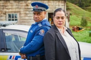 No child left alone: Andy the police officer (Oscar Kightley) and 'Child Services' (Rachel House) in Hunt For The Wilderpeople