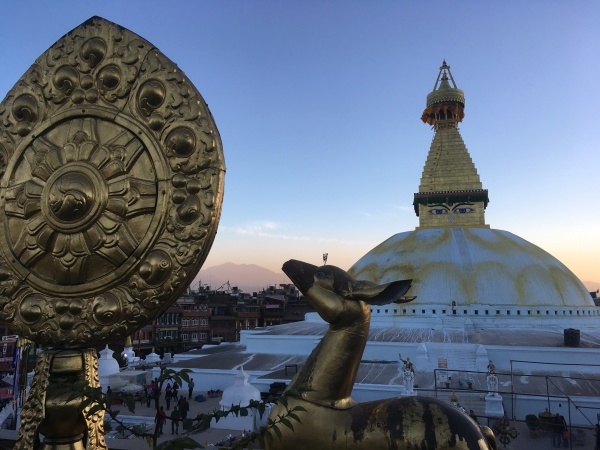 The stunning Boudhanath stupa (Buddhist shrine), the largest stupa in Nepal and the holiest Tibetan Buddhist temple outside Tibet